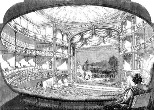 The interior of the Adelphi Theatre, which could seat 1,500 people, with standing room for another 500